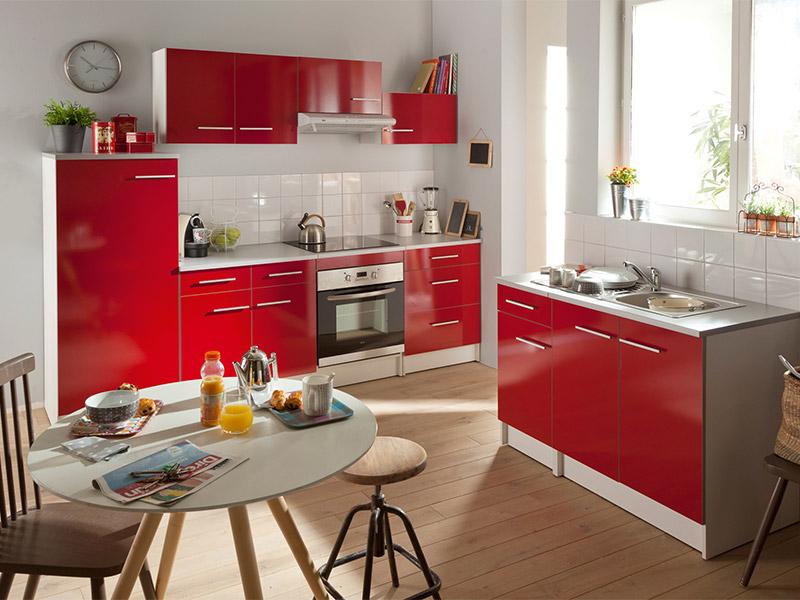 Meuble Cuisine Rouge Idee Pour Cuisine