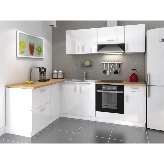 Meuble bas cuisine blanc laqué - Idée pour cuisine