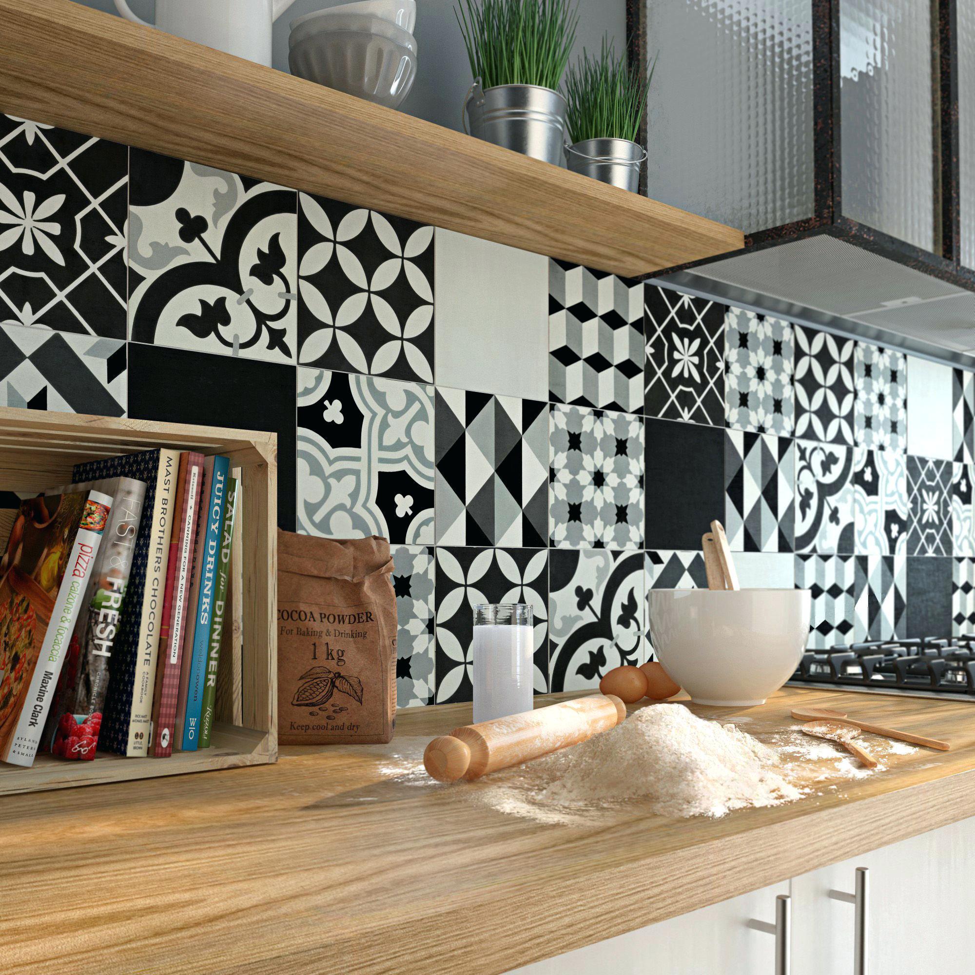 cr dence cuisine faux carreaux de ciment id e pour cuisine. Black Bedroom Furniture Sets. Home Design Ideas