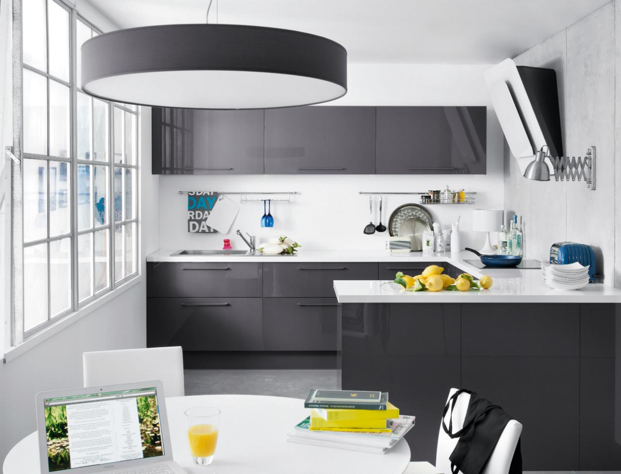 Meuble cuisine gris laqué ikea - Idée pour cuisine