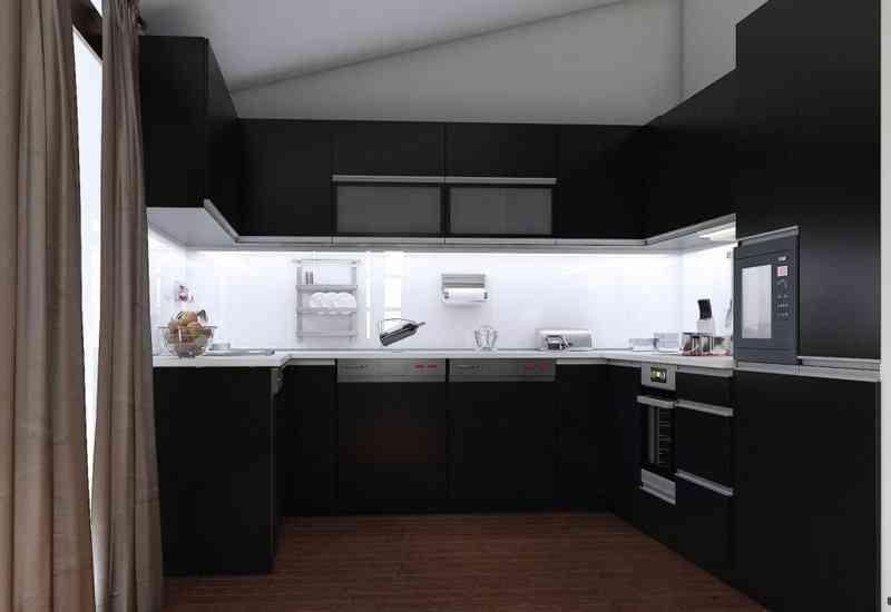 credence noir mat id e pour cuisine. Black Bedroom Furniture Sets. Home Design Ideas