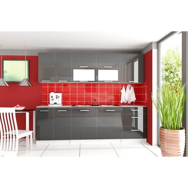Meuble de cuisine gris laqué - Idée pour cuisine