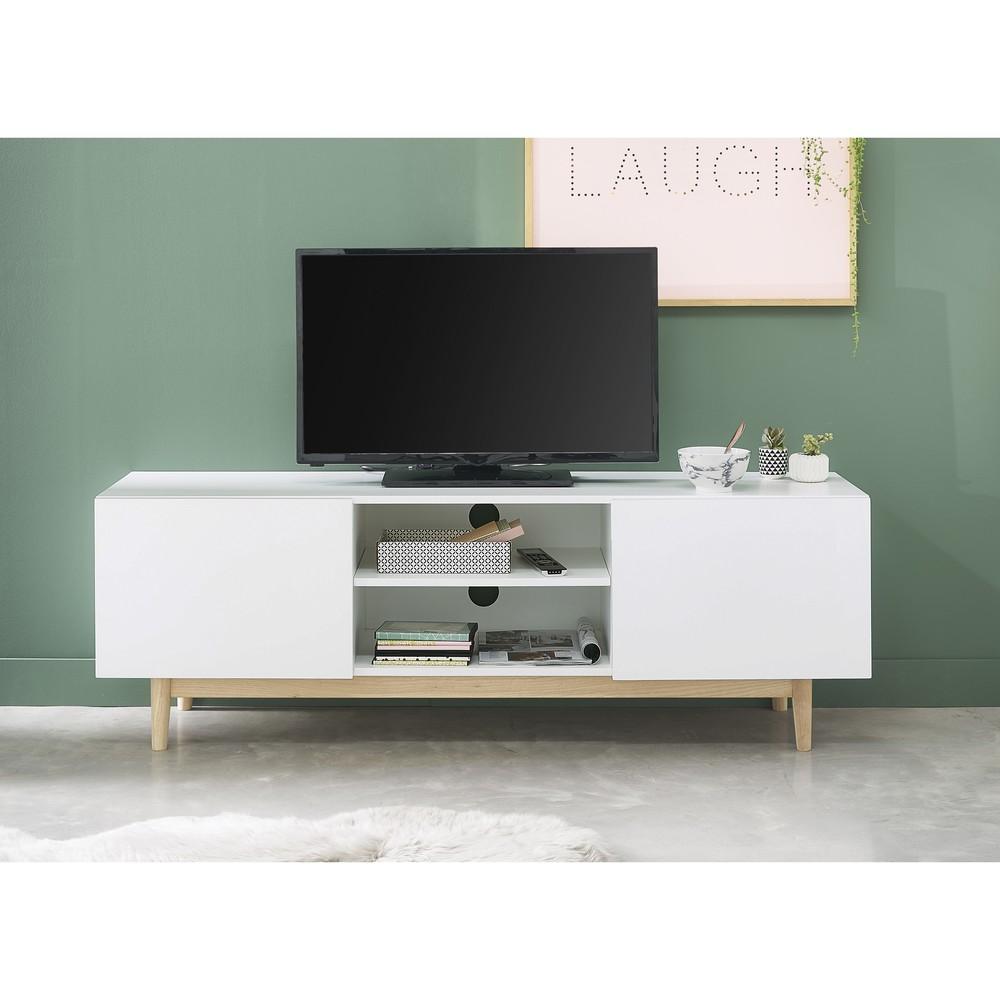 Maison du monde meuble tv blanc