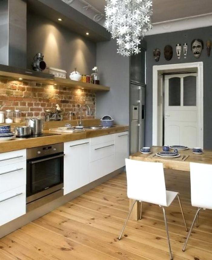 Credence Adhésive Cuisine Brique Blanche