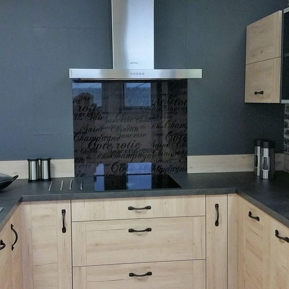credence stratifi verre id e pour cuisine. Black Bedroom Furniture Sets. Home Design Ideas