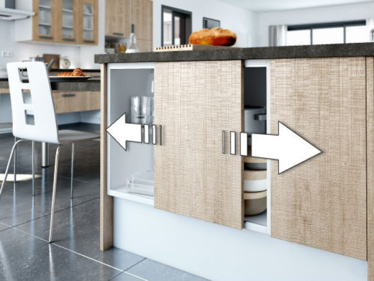 Meuble de cuisine haut porte coulissante id e pour cuisine - Cuisine cachee par des portes ...