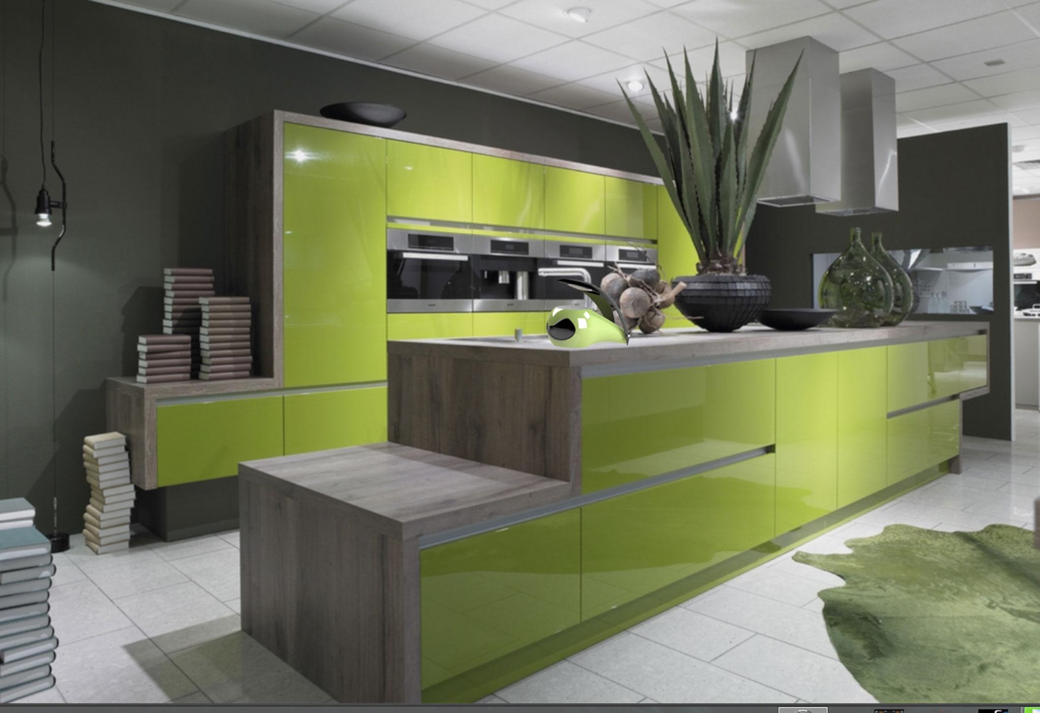 Meuble de cuisine vert anis - Idée pour cuisine
