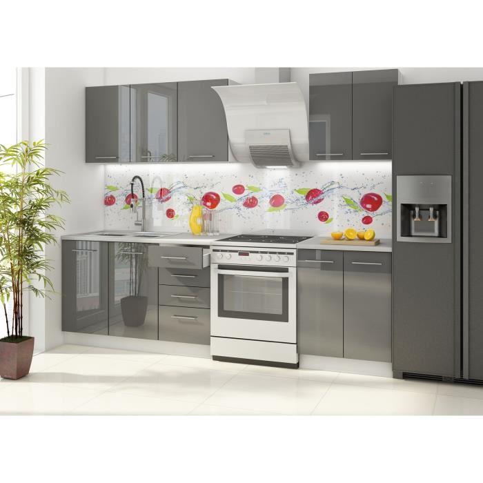 Meuble cuisine gris brillant - Idée pour cuisine